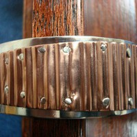 Sterling and Corrigated Copper Riveted Cuff Bracelet | Silvercloud - Jewelry on ArtFire