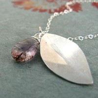 Purple Moss Amethyst Leaf Necklace by sleepymoondesign on Etsy