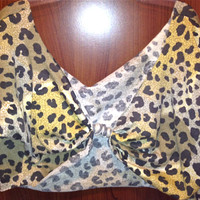 Off the shoulder Knot Back Leopard Crop Top with Rolled by Moleek7