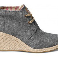 Black Chambray Women&#x27;s Desert Wedges | TOMS.com