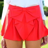 Red Large Bow Front Shorts with Pleat Detail