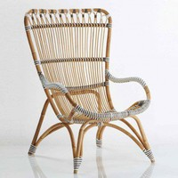 Rattan Lounge Chair and Ottoman - VivaTerra