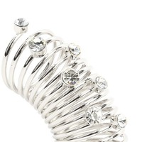 Silver Rhinestone Coil Ring and Shop Accessories at MakeMeChic.com