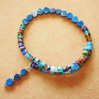 Beaded Wrap Bracelet/ Blue Millifiori Tube Beads/  Blue Lapis Heart Beads/ Memory Wire/ Handmade bracelet