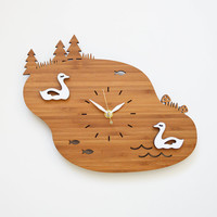 Lake Swans Wall Clock