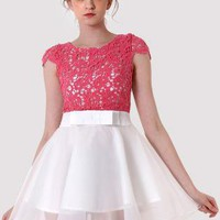 Pink & White Dress with Crochet Top and Skater Skirt