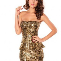 2013 new gold Tiered/Ruffle Dress