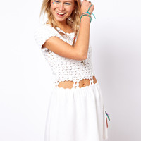 ASOS | ASOS Crochet Village Skater Dress at ASOS