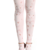 ROMWE | Cat Head Print White Tights, The Latest Street Fashion