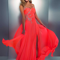 Abendkleider Online  A-line Halter Chiffon Floor-length Beading Prom Dress at Msdressy