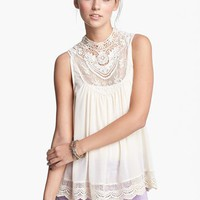 Elodie Lace Neck Top (Juniors) | Nordstrom