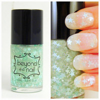Minty Twilight Nail Polish - Mint Stars, White Glitter &amp; Holographic
