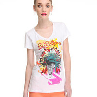 DJPremium.com - Women - Shop by Department - Tops - Indianed Short Sleeve V-Neck w/stones