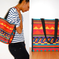 Vtg Colorful Tribal Print Open Tote Bag by LuluTresors on Etsy