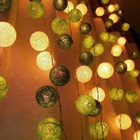 Amazon.com: Green Tone Mixed Set 35 of Cotton Balls String Lights Patio Wedding and Home Decorate By I Love Handicraft (35 Balls/set): Patio, Lawn & Garden