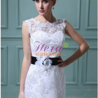 Eye-Catching Sheath Dual Straps Bateau Neckline Short Full Lace Wedding Dress With Black Waistband