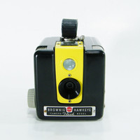 Vintage Yellow Brownie Hawkeye Kodak Camera Upcycled