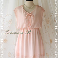 Shining After Rain - Delicate Lady Pastel Dress Pink Brush Color Lace Embroidered Bridesmaid Wedding Party Simply Dress S-M