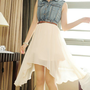 Denim Sleeveless Shirt Splicing Chiffon Skirt