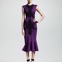 Alexander McQueen Spine Intarsia-Knit Flounce Dress, Purple/Black