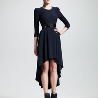 Alexander McQueen Leaf Crepe High-Low Dress