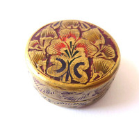 Antique Brass Small Box - Vintage Metal Box with Colored Embossed Flowers