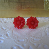 red flower earrings,flower stud earring,romantic red stud earring
