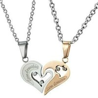 "Stainless Steel Diamond Accent His&Hers ""Love Devotion"" Heart Necklaces,18"" and 20""-sn3225"