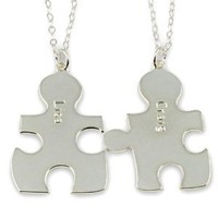 Personalized Sterling Silver Couple's Puzzle Necklace - Any Two Names with Two Chains