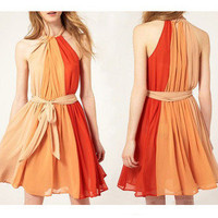 lovely orange fire bowknot neck dress
