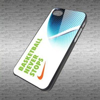Nike Basketball Never Stops custom hard black / white plastic cover iphone 4/4s and iphone 5 case 3