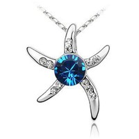 HORIZON BLUE Star Fish Swarovski Crystal Jewelry Pendant Necklace