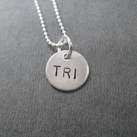 TRI - Just TRI 20 inch Sterling Silver Triathlon Necklace - Choose TRI, 70.3 or 140.6 - Swim Bike Run - Triathlete