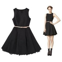 Jason Wu for Target Flared Dress in Black with Nude Patent Belt - Size: 10
