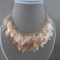 Vintage Metal Leaf Charms Bib Statement Necklace