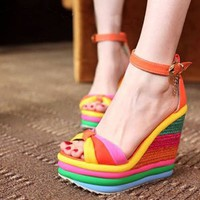 Amazon.com: Rainbow Print Super High Wedge Blue Pu Ankle Strap Sandals