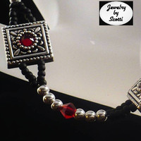 Black Red Crystal Silver Bracelet by JewelryByScotti on Etsy