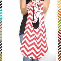 Chevron Bag. Over Shoulder Purse. Large Purse. 12 Chevron Fabric Choices. Reversible Purse. Mix n Match Pantone Colors Chevron and Solids.