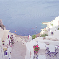 Dreamy Santorini, Greece - 8x10 Photo Print, Travel Photography, Blue and White, Dreams, Summer, Travel, Beach, Ocean, Water, Mediterranean