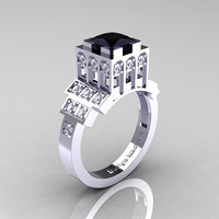 Modern Industrial 14K White Gold 1.23 CT Princess Black Diamond Bridal Ring R316-14KWGDBD