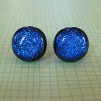Dichroic Blue Earrings, Post Earings, Hypoallergenic, Etsy Fashion Earrings, Ear Jewelry - Sydney - 1808 -3