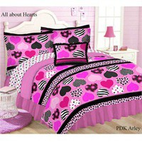All About Hearts Pink and Black Bed in a Bag Reversible Comforter Set