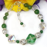 Adjustable Bracelet Green Lampwork Glass Crystals Gemstone Handmade