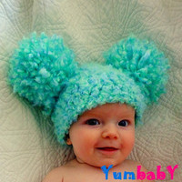 Baby Hat with Pom Poms Aqua Toddler hats Kids Clothes Photo Props
