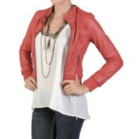 Amazon.com: Hailey Jeans Co Juniors Crinkled Zippered PVC Leather Jacket: Clothing