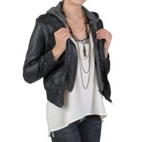 Amazon.com: Hailey Jeans Co Juniors Faux Leather Hooded Jacket: Clothing
