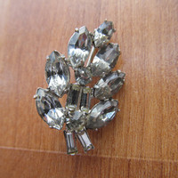 1950 Rhinestone brooch, collectible rhinestone jewelry, floral jewellery brooches