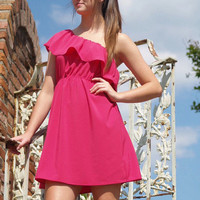 Fuchsia Ruffle Dress | Studio 706 Boutique