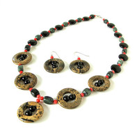 Brown, back and green necklace set - jasper, red coral, and onxy necklace - picture jasper, kimbaba jasper, onyx, and red coral