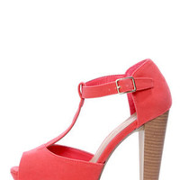 Brina 01 Rose Coral T-Strap Peep Toe Platform Heels